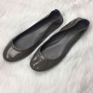 Tory Burch Grey Patent Leather Ballerina Flats